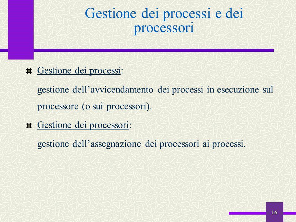 16 Gestione dei processi e dei processori Gestione dei processi: gestione dell'avvicendamento dei processi in esecuzione sul processore (o sui process
