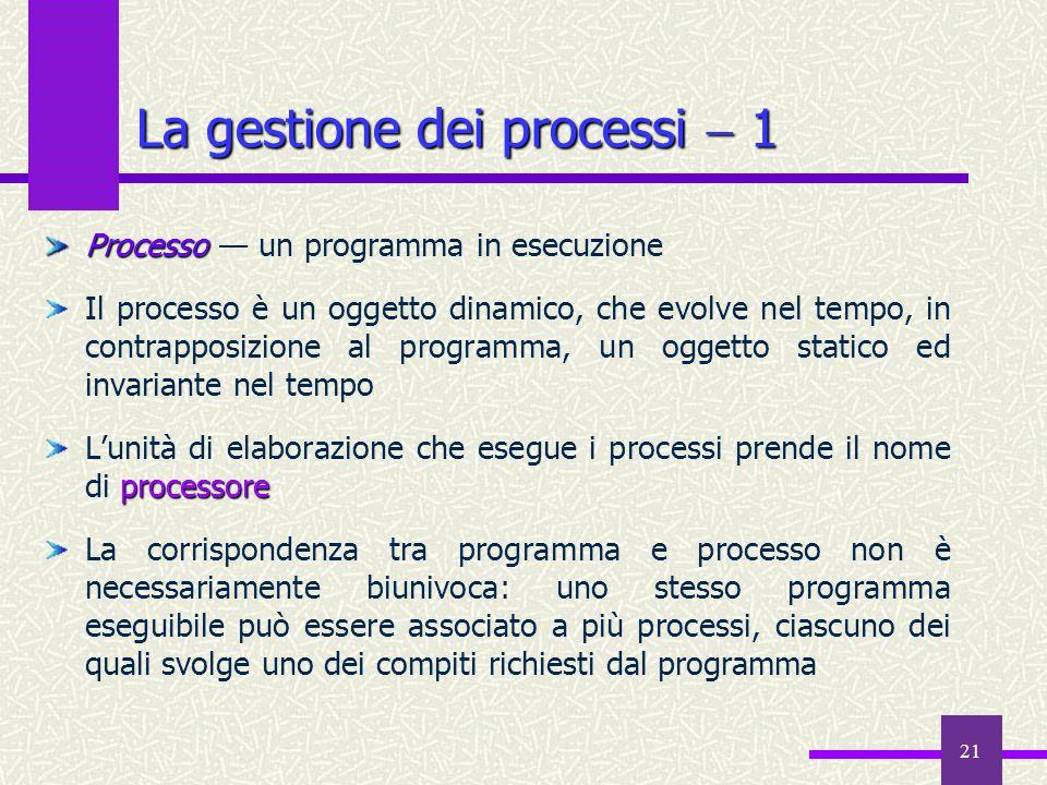 21 La gestione dei processi  1 Processo Processo — un programma in esecuzione Il processo è un oggetto dinamico, che evolve nel tempo, in contrapposi