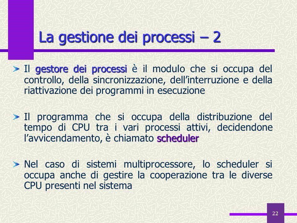 22 gestore dei processi Il gestore dei processi è il modulo che si occupa del controllo, della sincronizzazione, dell'interruzione e della riattivazio