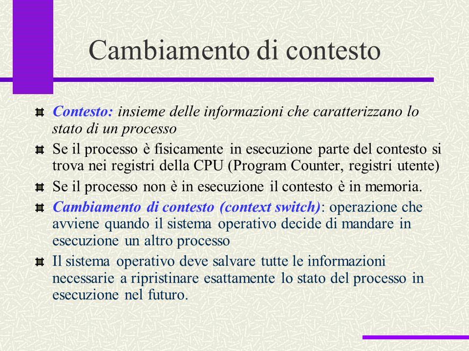 Cambiamento di contesto Contesto: insieme delle informazioni che caratterizzano lo stato di un processo Se il processo è fisicamente in esecuzione par