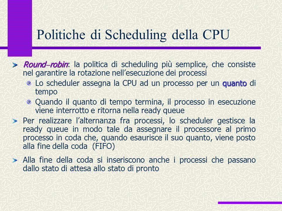 Round  robin Round  robin : la politica di scheduling più semplice, che consiste nel garantire la rotazione nell'esecuzione dei processi quanto Lo s