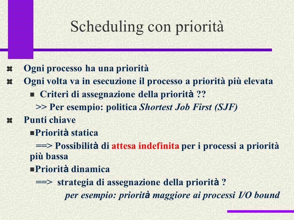 Scheduling con priorità Ogni processo ha una priorità Ogni volta va in esecuzione il processo a priorità più elevata Criteri di assegnazione della pri