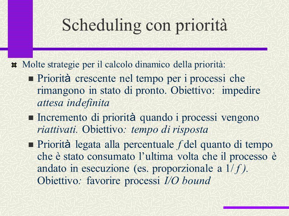 Scheduling con priorità Molte strategie per il calcolo dinamico della priorità: Priorit à crescente nel tempo per i processi che rimangono in stato di