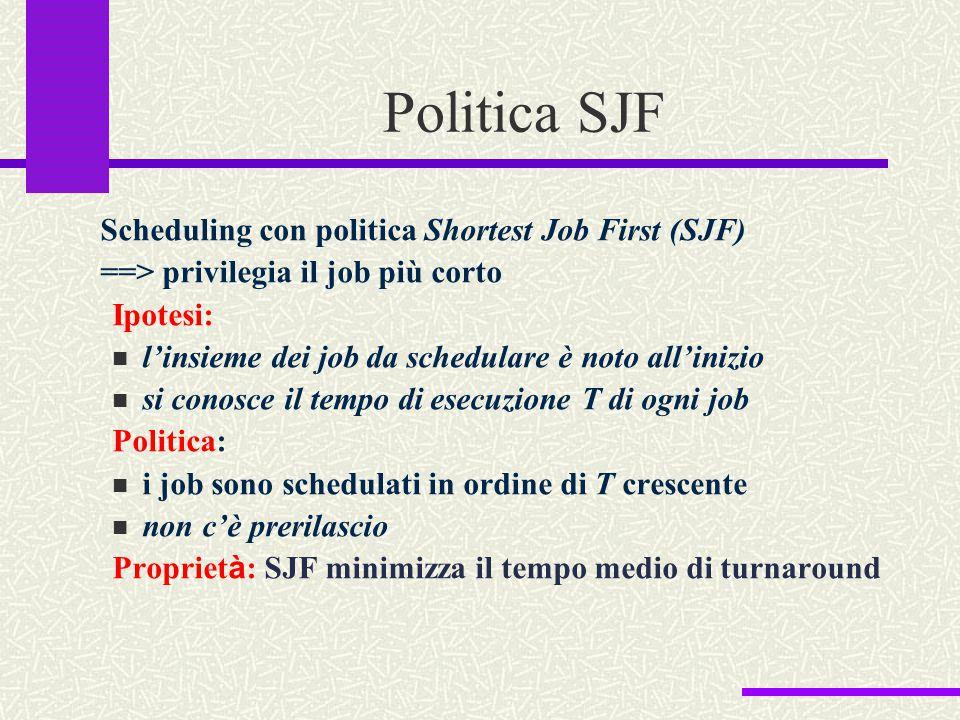 Politica SJF Scheduling con politica Shortest Job First (SJF) ==> privilegia il job più corto Ipotesi: l'insieme dei job da schedulare è noto all'iniz