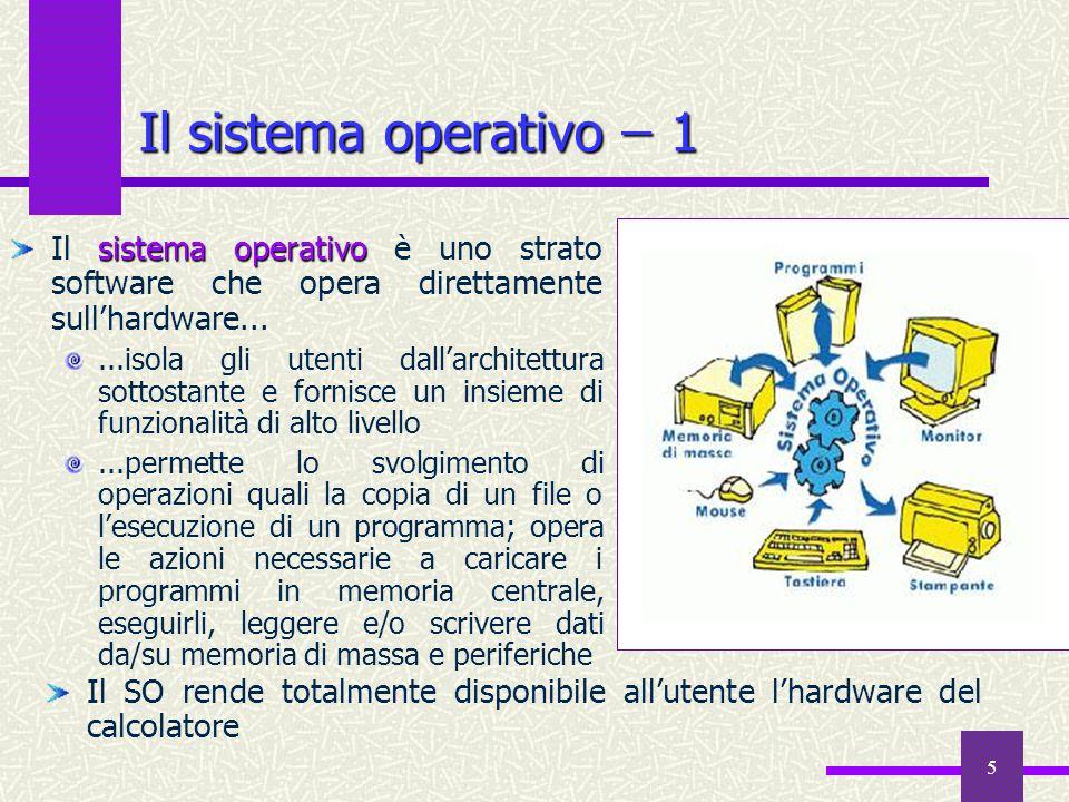 5 Il sistema operativo ̶ 1 Il SO rende totalmente disponibile all'utente l'hardware del calcolatore sistema operativo Il sistema operativo è uno strat