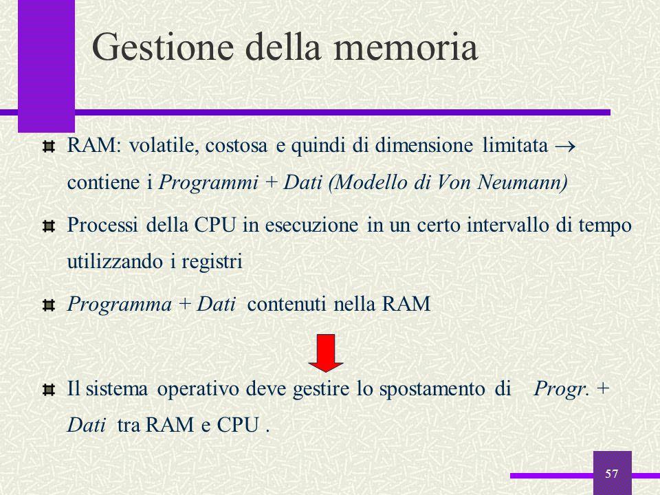 57 RAM: volatile, costosa e quindi di dimensione limitata  contiene i Programmi + Dati (Modello di Von Neumann) Processi della CPU in esecuzione in u
