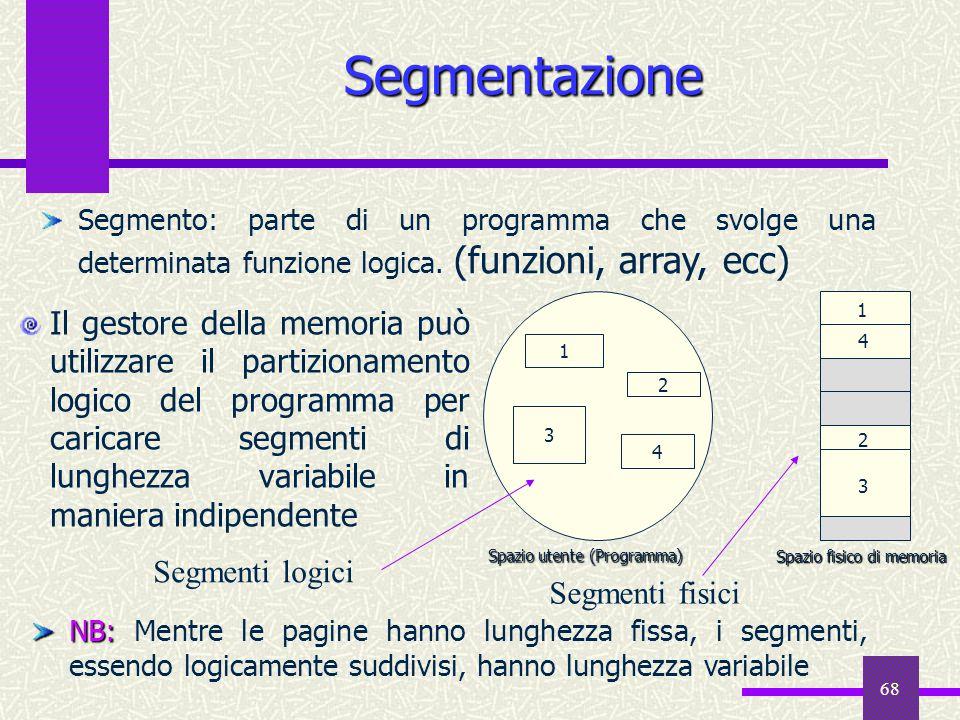 68 Segmentazione Il gestore della memoria può utilizzare il partizionamento logico del programma per caricare segmenti di lunghezza variabile in manie