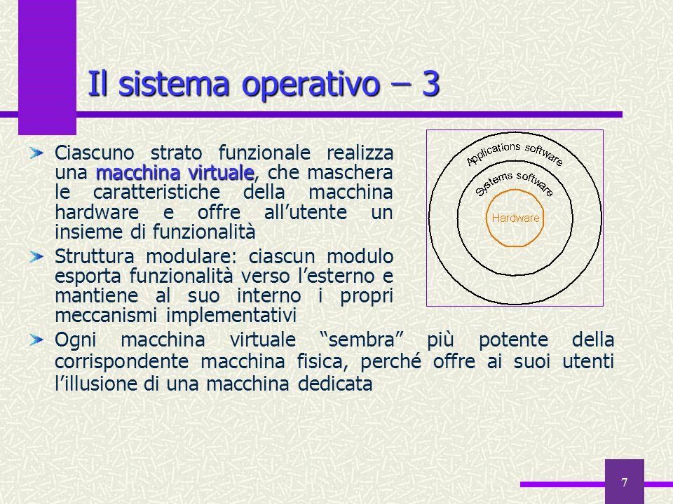 7 Il sistema operativo ̶ 3 macchina virtuale Ciascuno strato funzionale realizza una macchina virtuale, che maschera le caratteristiche della macchina