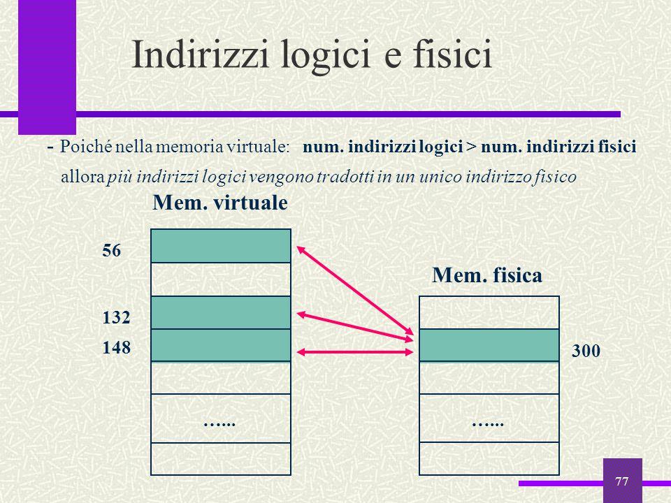 77 Indirizzi logici e fisici Mem. virtuale Mem. fisica …... 148 300 - Poiché nella memoria virtuale: num. indirizzi logici > num. indirizzi fisici all