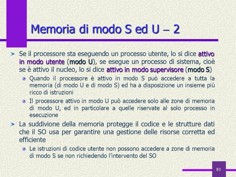 81 Memoria di modo S ed U  2 attivo in modo utentemodo U attivo in modo supervisoremodo S Se il processore sta eseguendo un processo utente, lo si di