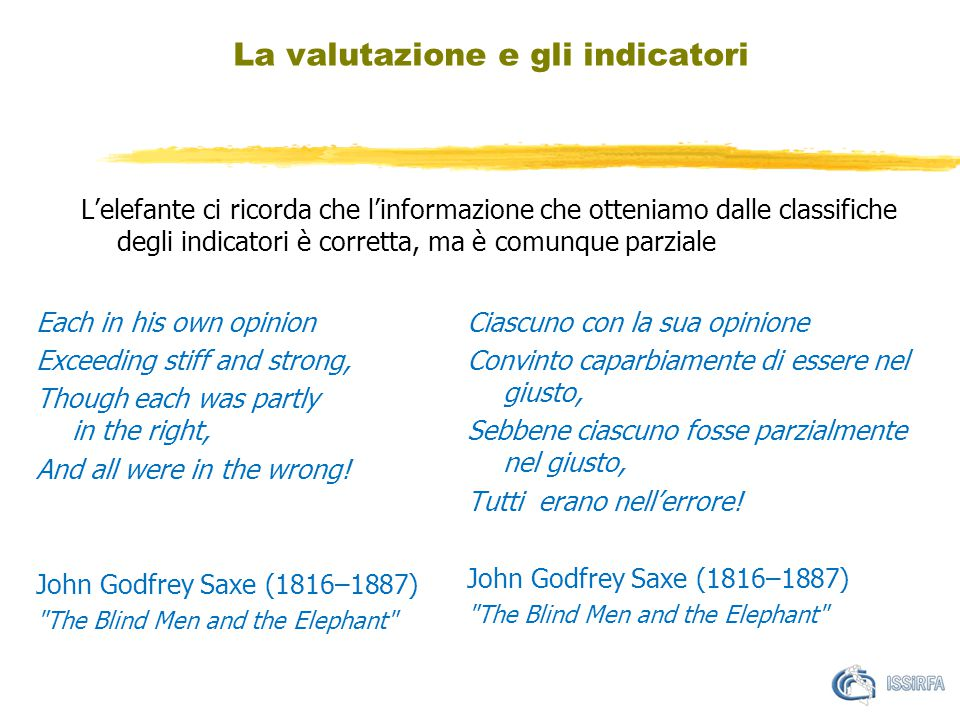 L'elefante ci ricorda che l'informazione che otteniamo dalle classifiche degli indicatori è corretta, ma è comunque parziale La valutazione e gli indicatori Each in his own opinion Exceeding stiff and strong, Though each was partly in the right, And all were in the wrong.