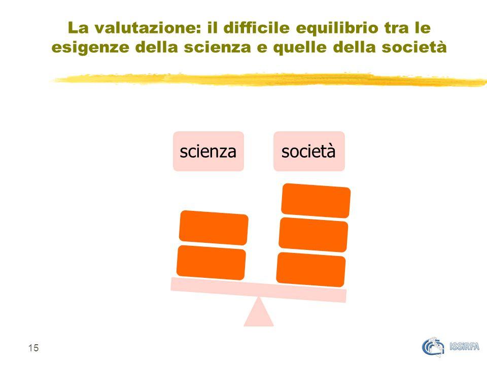 scienzasocietà 15 La valutazione: il difficile equilibrio tra le esigenze della scienza e quelle della società