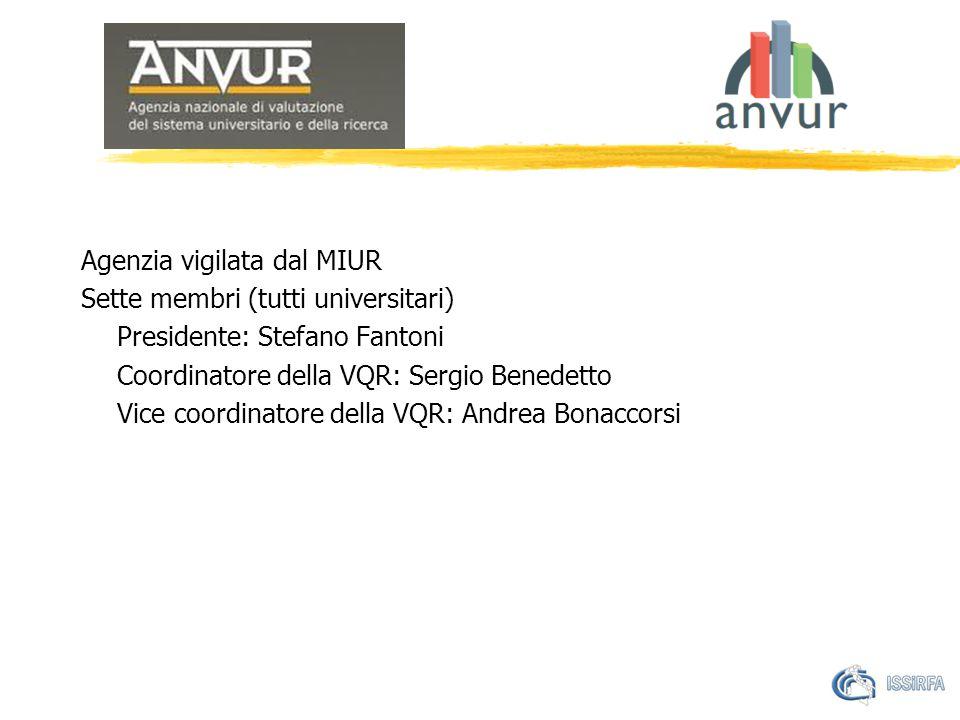 Agenzia vigilata dal MIUR Sette membri (tutti universitari) Presidente: Stefano Fantoni Coordinatore della VQR: Sergio Benedetto Vice coordinatore della VQR: Andrea Bonaccorsi