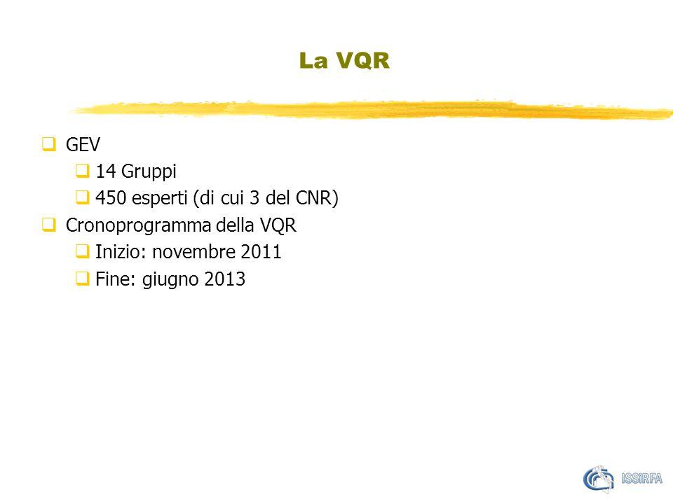 La VQR  GEV  14 Gruppi  450 esperti (di cui 3 del CNR)  Cronoprogramma della VQR  Inizio: novembre 2011  Fine: giugno 2013