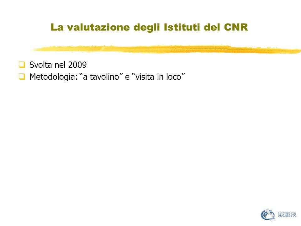 La valutazione degli Istituti del CNR  Svolta nel 2009  Metodologia: a tavolino e visita in loco