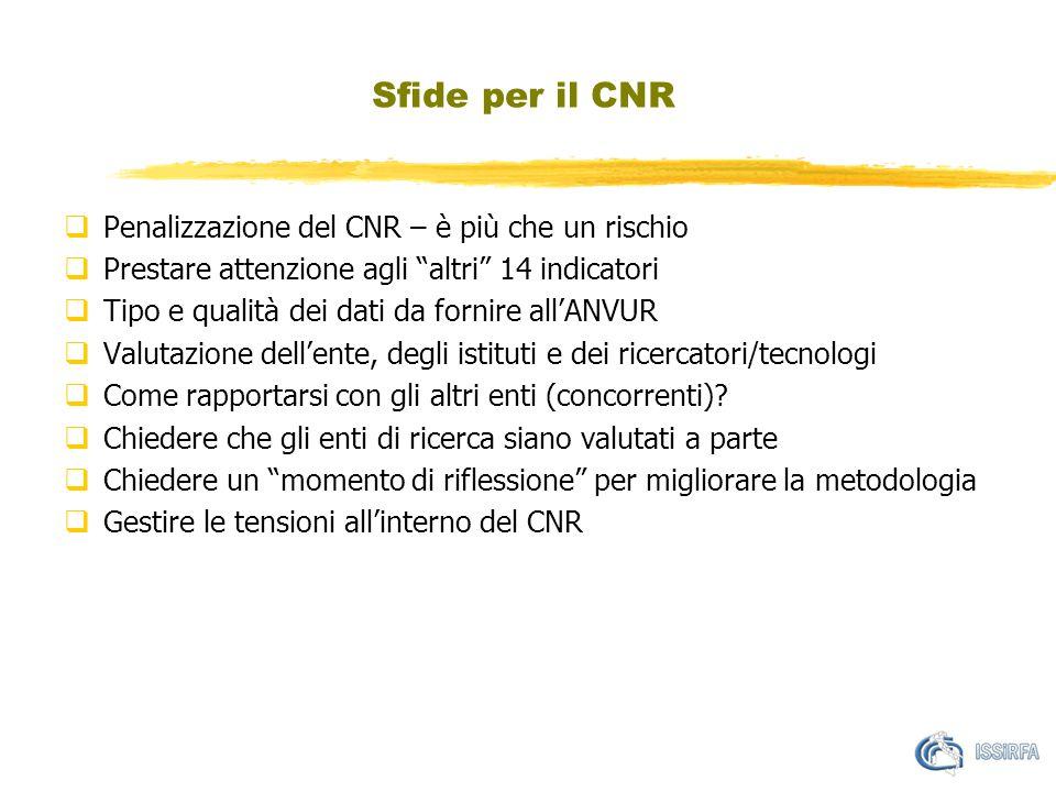 """Sfide per il CNR  Penalizzazione del CNR – è più che un rischio  Prestare attenzione agli """"altri"""" 14 indicatori  Tipo e qualità dei dati da fornire"""