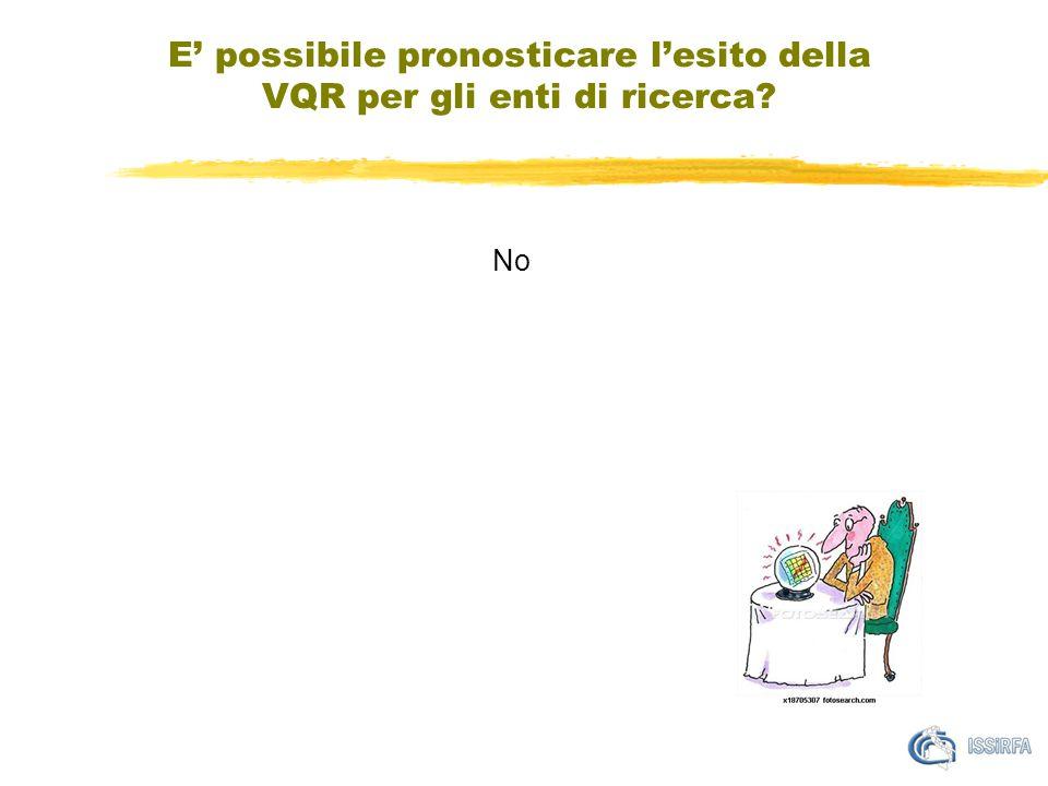 E' possibile pronosticare l'esito della VQR per gli enti di ricerca No