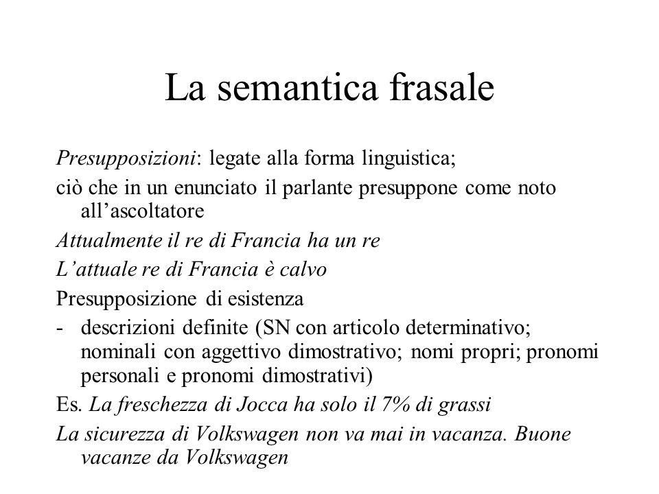 La semantica frasale Presupposizioni: legate alla forma linguistica; ciò che in un enunciato il parlante presuppone come noto all'ascoltatore Attualme