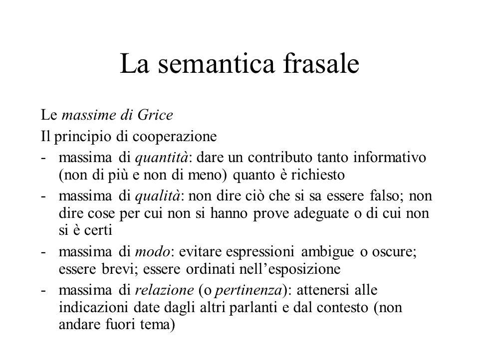 La semantica frasale Le massime di Grice Il principio di cooperazione -massima di quantità: dare un contributo tanto informativo (non di più e non di