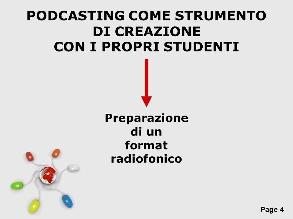 Free Powerpoint Templates Page 4 PODCASTING COME STRUMENTO DI CREAZIONE CON I PROPRI STUDENTI Preparazione di un format radiofonico