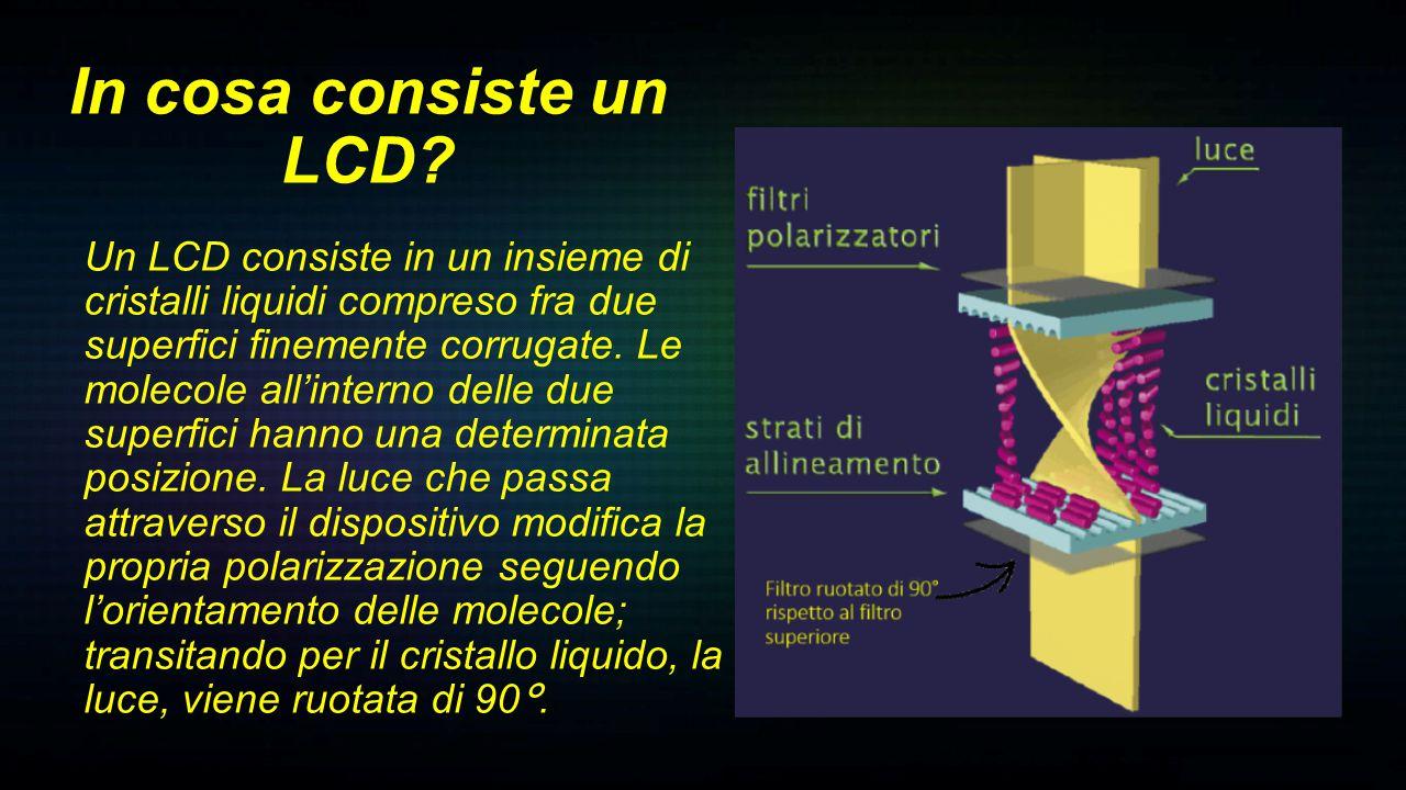Quando viene applicato un campo elettrico o una tensione al cristallo liquido, le molecole si dispongono verticalmente: la luce passa senza subire la rotazione (non fuoriesce dal 2° filtro) Come funziona un LCD?