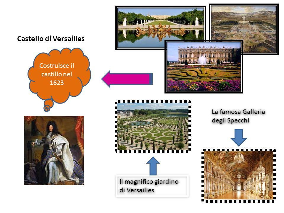 Castello di Versailles Il magnifico giardino di Versailles La famosa Galleria degli Specchi Costruisce il castillo nel 1623