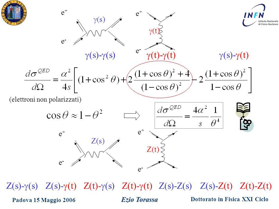 Dottorato in Fisica XXI Ciclo Padova 15 Maggio 2006 Ezio Torassa e+e+ e-e-  t)   s) e+e+ e-e-  (s)-  (t)  (t)-  (t)  (s)-  (s) Z(s)-  (s) Z(s)-  (t) Z(t)-  (s) Z(t)-  (t) Z(s)-Z(s) Z(s)-Z(t) Z(t)-Z(t)  Z(s) e+e+ e-e- e+e+ e-e- Z  t) (elettroni non polarizzati)