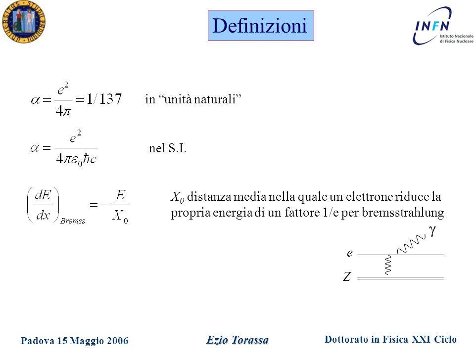 Dottorato in Fisica XXI Ciclo Padova 15 Maggio 2006 Ezio Torassa in unità naturali nel S.I.