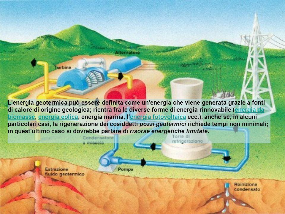 L'energia geotermica può essere definita come un'energia che viene generata grazie a fonti di calore di origine geologica; rientra fra le diverse form
