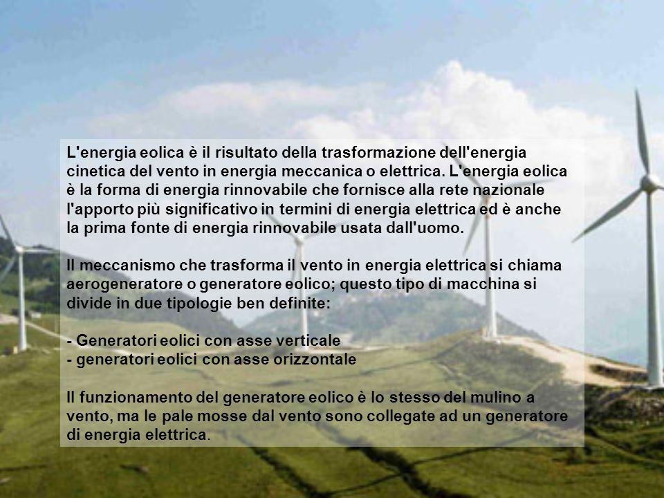 L'energia eolica è il risultato della trasformazione dell'energia cinetica del vento in energia meccanica o elettrica. L'energia eolica è la forma di