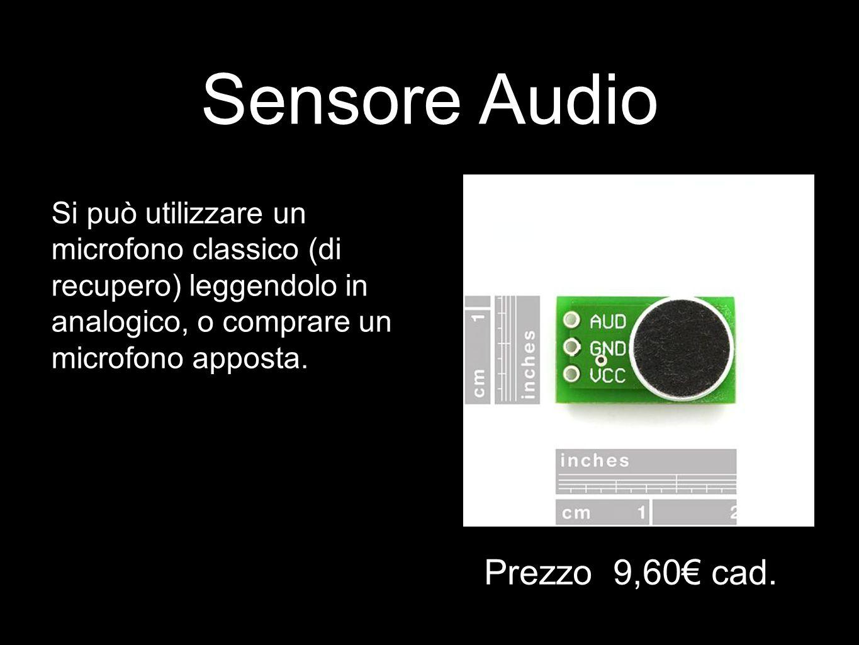 Sensore Audio Si può utilizzare un microfono classico (di recupero) leggendolo in analogico, o comprare un microfono apposta. Prezzo 9,60€ cad.