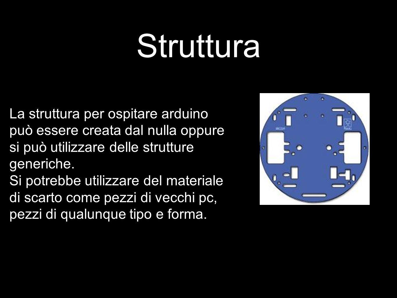 Struttura La struttura per ospitare arduino può essere creata dal nulla oppure si può utilizzare delle strutture generiche. Si potrebbe utilizzare del