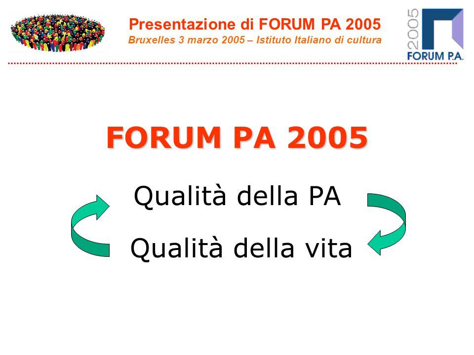 Presentazione di FORUM PA 2005 Bruxelles 3 marzo 2005 – Istituto Italiano di cultura FORUM PA 2005 Qualità della PA Qualità della vita