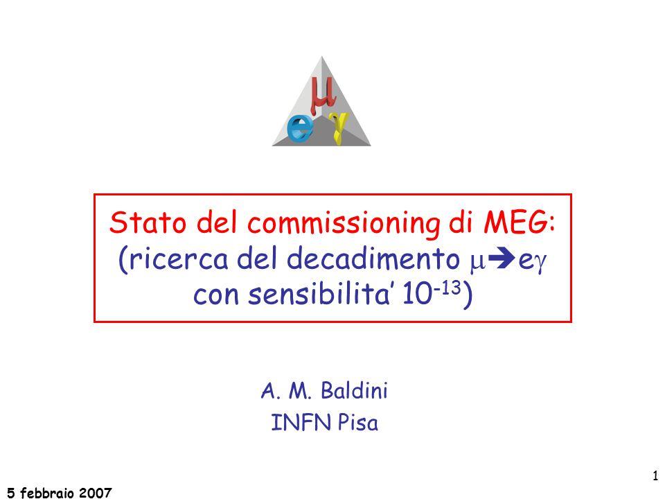 5 febbraio 2007 1 Stato del commissioning di MEG: (ricerca del decadimento   e  con sensibilita' 10 -13 ) A.