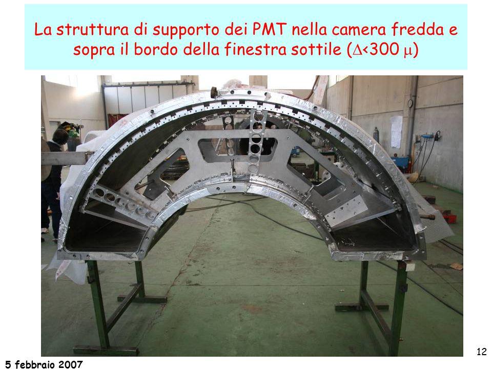 5 febbraio 2007 12 La struttura di supporto dei PMT nella camera fredda e sopra il bordo della finestra sottile La struttura di supporto dei PMT nella camera fredda e sopra il bordo della finestra sottile (  <300  )
