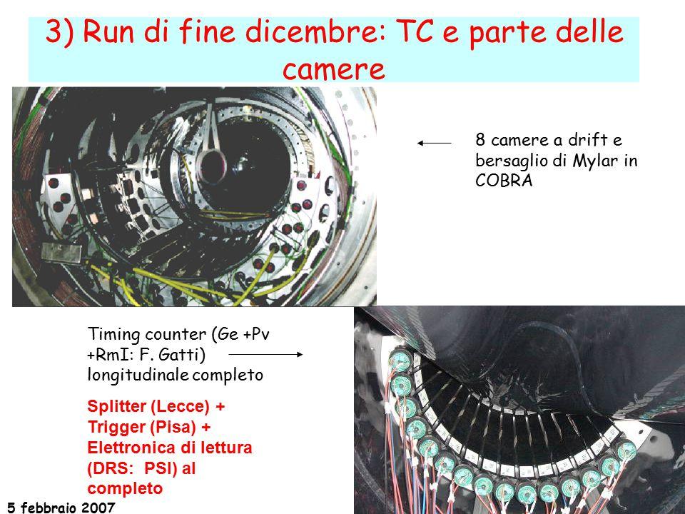 5 febbraio 2007 19 3) Run di fine dicembre: TC e parte delle camere 8 camere a drift e bersaglio di Mylar in COBRA Timing counter (Ge +Pv +RmI: F.