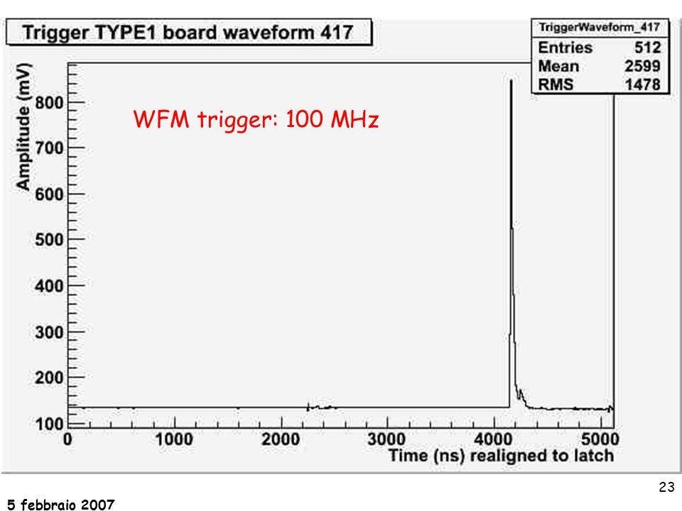 5 febbraio 2007 23 WFM trigger: 100 MHz