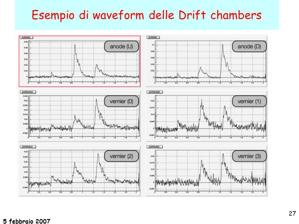 5 febbraio 2007 27 Esempio di waveform delle Drift chambers