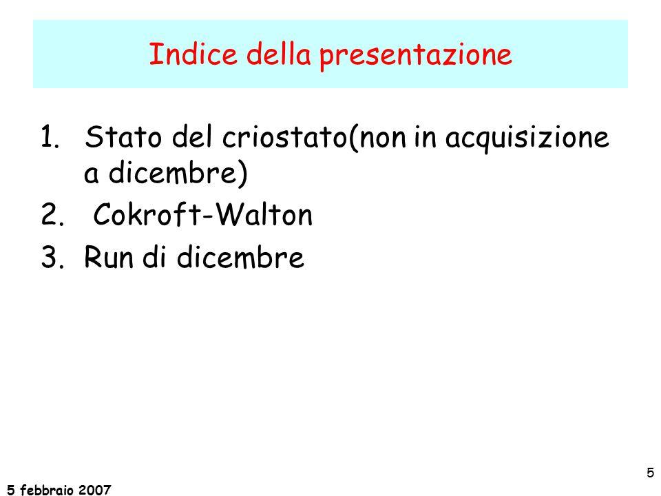 5 febbraio 2007 5 Indice della presentazione 1.Stato del criostato(non in acquisizione a dicembre) 2.