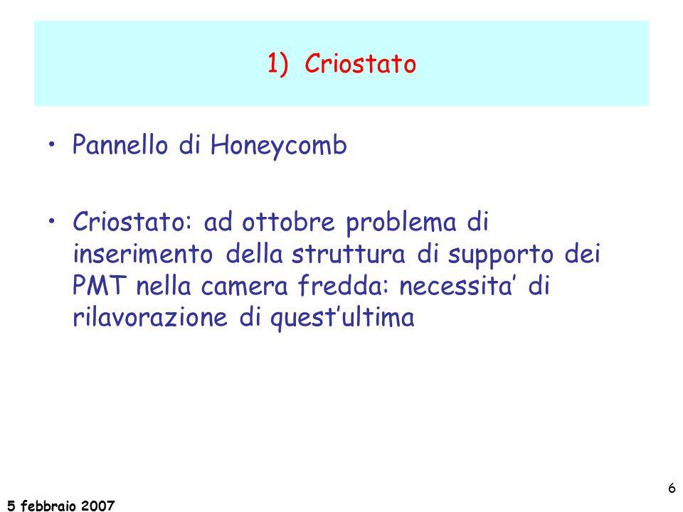 5 febbraio 2007 6 1) Criostato Pannello di Honeycomb Criostato: ad ottobre problema di inserimento della struttura di supporto dei PMT nella camera fredda: necessita' di rilavorazione di quest'ultima
