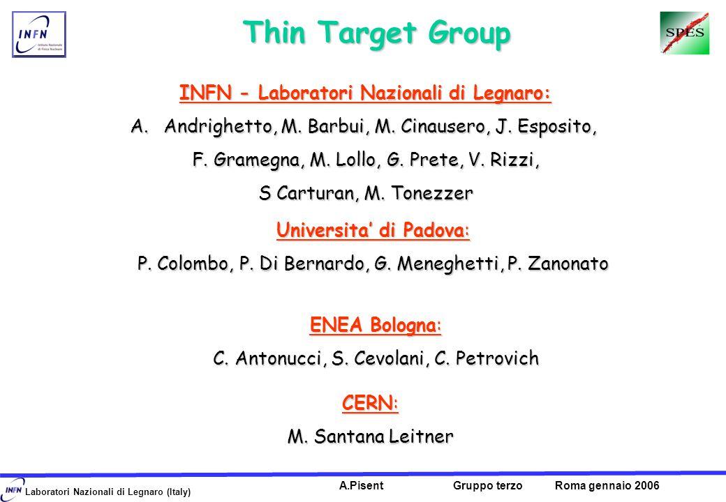 Laboratori Nazionali di Legnaro (Italy) A.Pisent Gruppo terzo Roma gennaio 2006 Thin Target Group Thin Target Group INFN - Laboratori Nazionali di Legnaro: A.Andrighetto, M.
