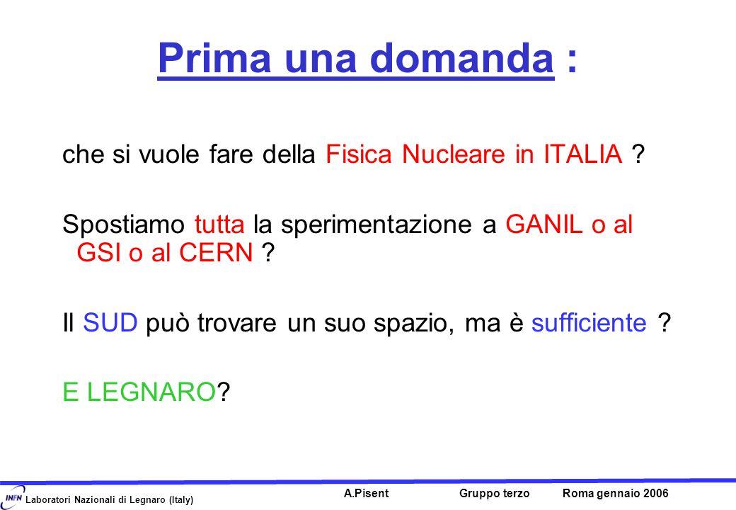 Laboratori Nazionali di Legnaro (Italy) A.Pisent Gruppo terzo Roma gennaio 2006 Prima una domanda : che si vuole fare della Fisica Nucleare in ITALIA .
