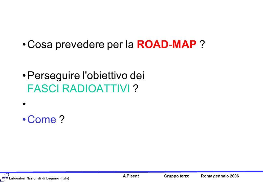Laboratori Nazionali di Legnaro (Italy) A.Pisent Gruppo terzo Roma gennaio 2006 Cosa prevedere per la ROAD-MAP .