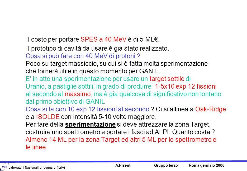 Laboratori Nazionali di Legnaro (Italy) A.Pisent Gruppo terzo Roma gennaio 2006 Il costo per portare SPES a 40 MeV è di 5 ML€.