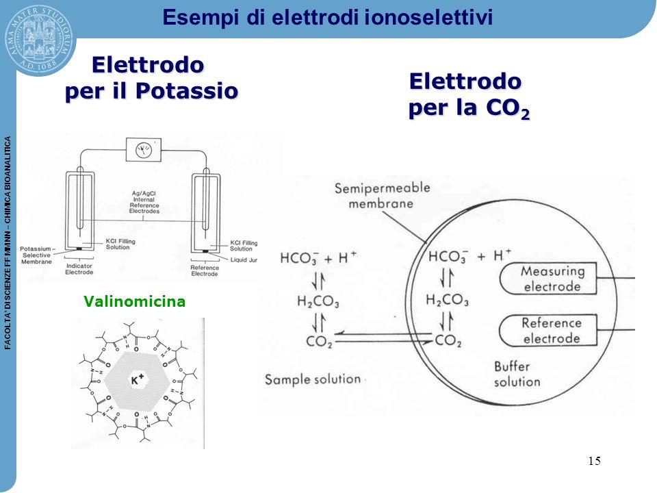 15 FACOLTA' DI SCIENZE FF MM NN – CHIMICA BIOANALITICA Elettrodo per il Potassio Valinomicina Elettrodo per la CO 2 Esempi di elettrodi ionoselettivi