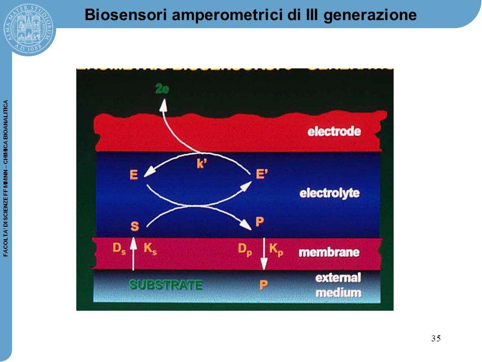 35 FACOLTA' DI SCIENZE FF MM NN – CHIMICA BIOANALITICA Biosensori amperometrici di III generazione