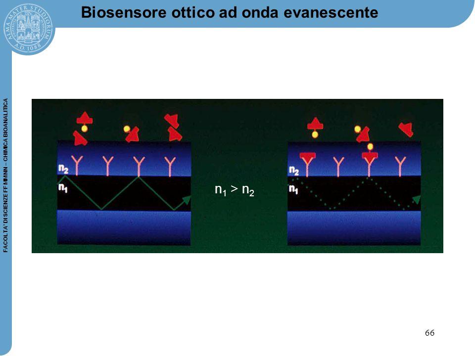 66 FACOLTA' DI SCIENZE FF MM NN – CHIMICA BIOANALITICA Biosensore ottico ad onda evanescente n 1 > n 2