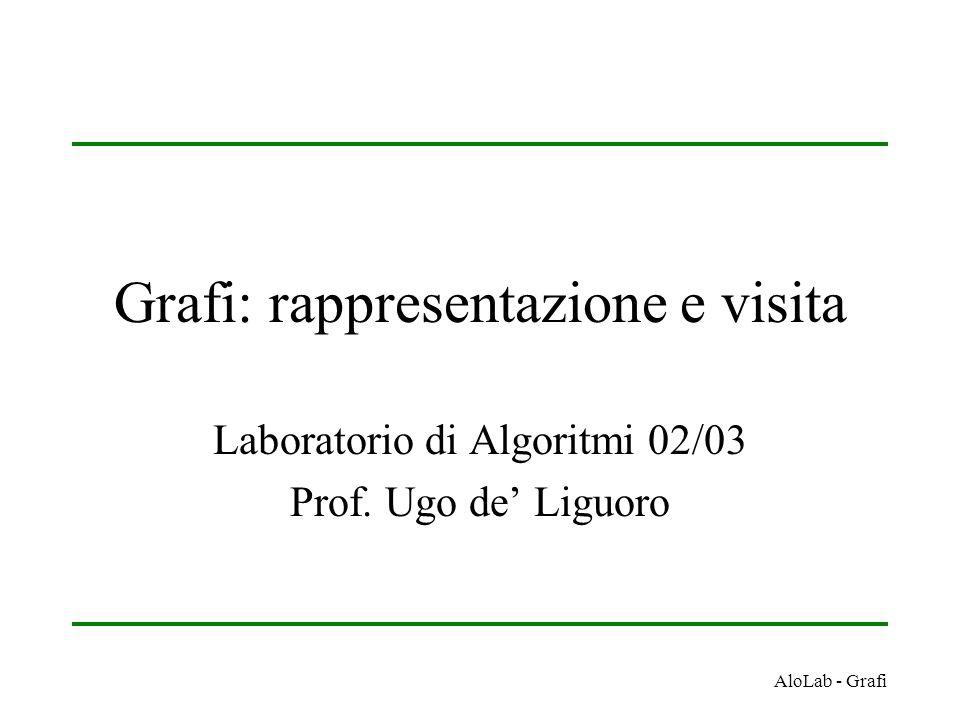 AloLab - Grafi Grafi: rappresentazione e visita Laboratorio di Algoritmi 02/03 Prof. Ugo de' Liguoro