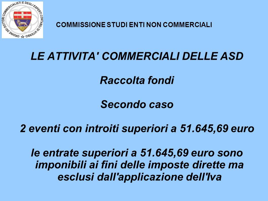 COMMISSIONE STUDI ENTI NON COMMERCIALI LE ATTIVITA' COMMERCIALI DELLE ASD Raccolta fondi Secondo caso 2 eventi con introiti superiori a 51.645,69 euro