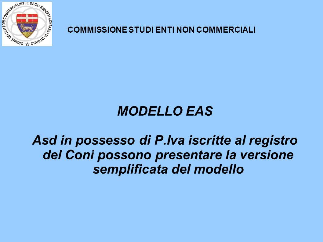 COMMISSIONE STUDI ENTI NON COMMERCIALI MODELLO EAS Asd in possesso di P.Iva iscritte al registro del Coni possono presentare la versione semplificata del modello